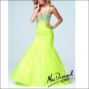 Mag Duggal neon lime Prom Dress